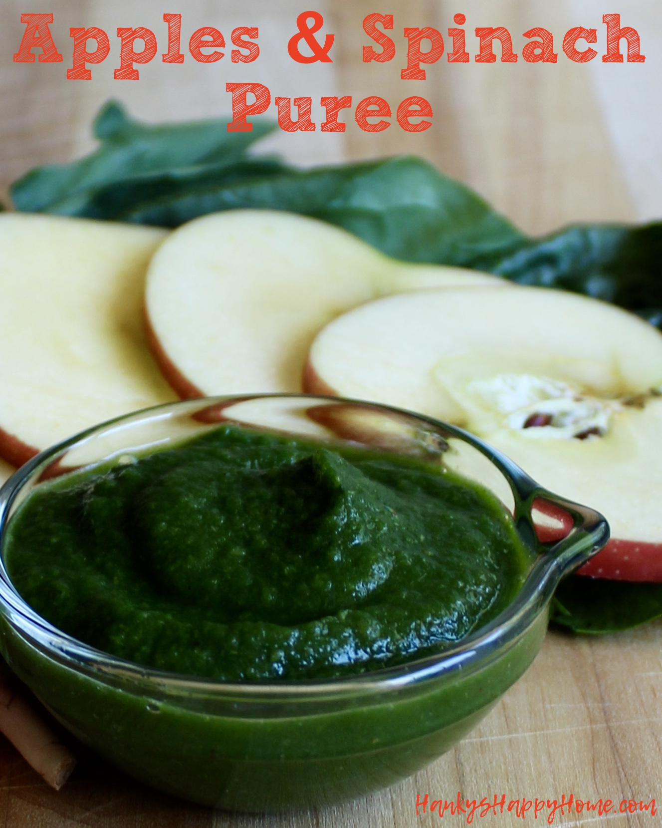 Apples spinach baby food puree hankys happy home this easy homemade apple spinach puree is packed with nutrients and tastes delicious forumfinder Choice Image