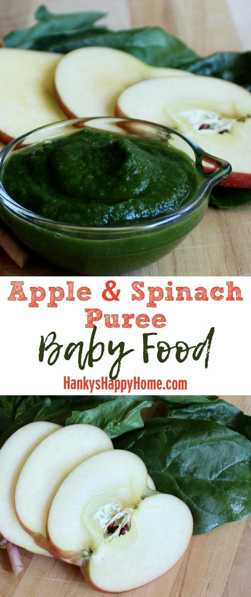 Apples & Spinach Baby Food Puree - Hanky's Happy Home